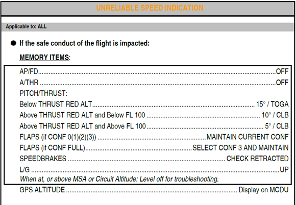 Figure B14: FCOM procedure – Navigation indicated airspeed discrepancy