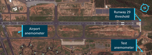 Figure 6: Location of anemometers at Darwin Airport. Image shows the primary anemometer's location near the centre of the airport and the second (test) anemometer near the runway 29 threshold. Source:  ATSB / Google Earth