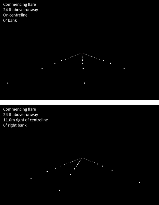 Figure A4: Simulated approaches with centreline lighting showing on centreline with wings level (top) compared to a misaligned approach with 6° right bank (bottom). Source: ATSB