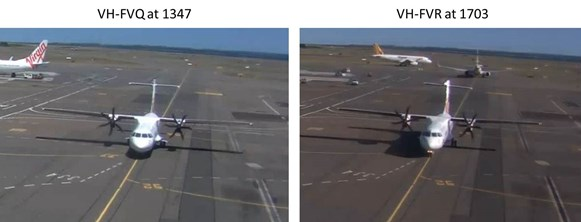 Figure 5: Images from Sydney Airport CCTV footage showing the deformation to the horizontal stabiliser of VH-FVR (right) as compared to an undamaged ATR 72, VH-FVQ (left).