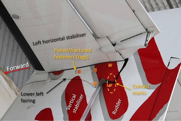 Figure 8: Damage visible on the lower left side of the horizontal stabiliser included fasteners pulled through the lower left fairing, fractured fasteners for securing the fairing and contact marks between the fairing and the rudder.