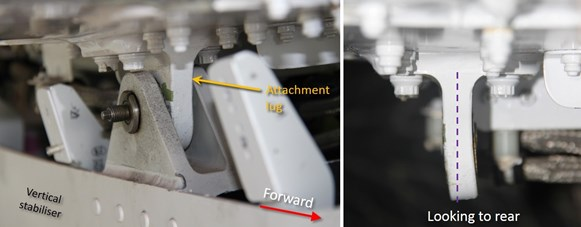 Figure 13: Mid-right attachment lug. Left image shows the lug while connected to the vertical stabiliser. Cracks and missing white paint (green patch) were indications of distress. Right image shows the lug following removal of the horizontal stabiliser.