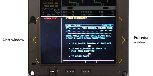 Figure 24: The bottom half of the engine and warning display is dedicated to the flight warning system. The alert window, on the left, lists all of the active alerts. The procedure window on the right automatically presents any procedures associated with the active alert. The pitch disconnect warning is provided as an example.