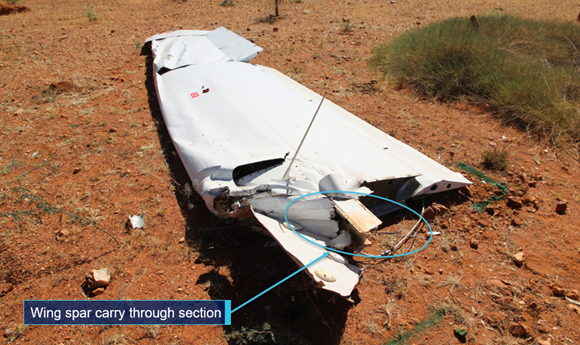 Figure 2: Right wing viewed from inboard end showing section of carry-through structure. Source: ATSB