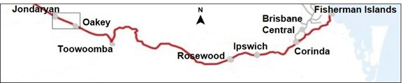 Figure 1: Jondaryan Coal Siding to Fisherman Islands rail route. The image shows the projected journey of train 9869 from Jondaryan Coal Siding to Fisherman Islands. 
