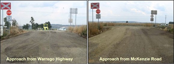 Figure 4: Dunkeld Access Road / level crossing ID 2309 upgrade in October 2011. The images show the condition of the approach road surface on the day of the upgrade (October 2011). 