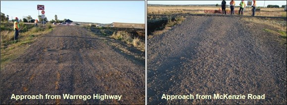 Figure 6: The condition of the gravel-based road surface at the crossing on 22 July 2017. The images show the deteriorated state of the road surface and evidence of wheel furrow marks cut into the road surface. 