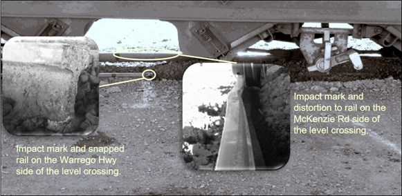 Figure 8: Damage to the rails at level crossing ID 2309. The image shows corresponding impact marks in the head of each rail, which distorted the gauge and compromised the track integrity. Source: ATSB