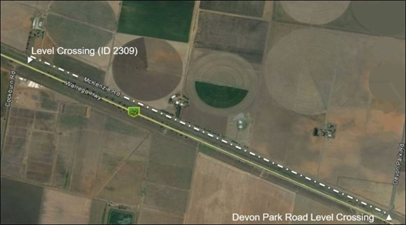 Figure 9: The preferred route after delivering heavy machinery to the worksite. The image shows the route normally taken by the driver of the heavy road vehicle after delivering earthmoving machinery for planned maintenance work during 2017. 