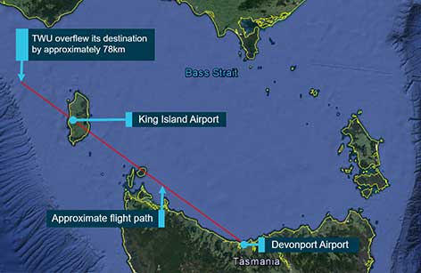 Overview of flight path for VH-TWU and distance past destination of King Island Airport