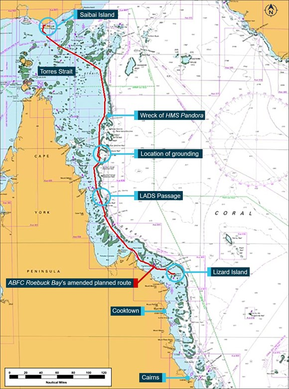 Figure 3: Section of navigational chart Aus 4620 showing ABFC Roebuck Bay's planned route and key locations. Source: Australian Hydrographic Office, annotated by the ATSB