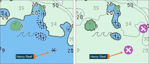 Figure 19: Henry Reef on ENC AU413143, displaying conditional symbology. Image on left shows Henry Reef displayed as a 'rock awash' symbol when lying within the user-defined safety contour. The image on the right shows Henry Reef displaying as an 'isolated danger symbol' when lying outside the user-defined safety contour. Source: Australian Hydrographic Office, annotated by the ATSB