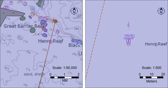 Figure 27: ABFC Roebuck Bay's planned route on the ECDIS showing the relative position of the isolated danger symbol representing Henry Reef at different scales. Image shows ABFC Roebuck Bay's amended route legs on the ECDIS at the compilation scale of 1:90,000 (left) and at the largest viewable scale, 1:500 (right).  Source: Electrotech and ATSB