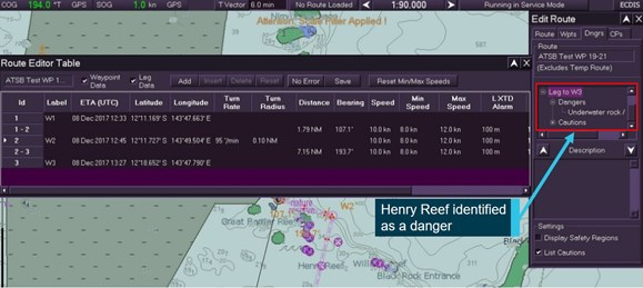 Figure 29: Danger identified on the amended route leg in the 'Edit Route' menu during testing. Image shows a danger (Henry Reef) identified by the ECDIS route dangers safety checking function on the amended route leg during ATSB testing. Note that the danger is not automatically highlighted on the chart and that the route validation function does not show any errors. Source: Electrotech and ATSB