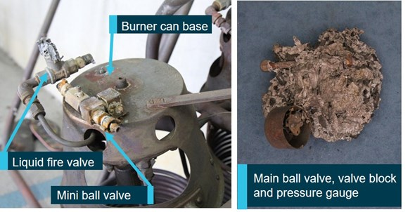 Figure 4: Underside of burner and main ball valve – fire location. Source: ATSB