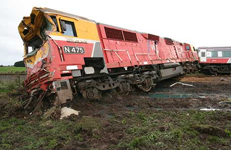 Warrnambool-bound passenger train collided with a semi-trailer at the Phalps Road level crossing in Larpent, Victoria