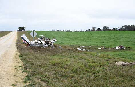 Accident site, showing the engine and propeller location, the left and right wing impact marks and the main wreckage. Source: South Australia Police