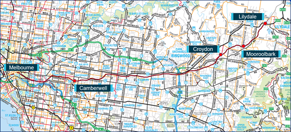 Figure 3: Location of Croydon on Lilydale train line. Source: Copyright Melway Publishing 2018, with annotations by the Chief Investigator, Transport Safety (Vic)