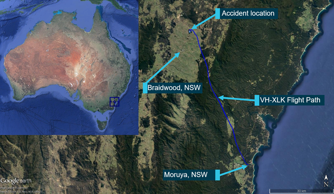 Aircraft's flight path and accident site location