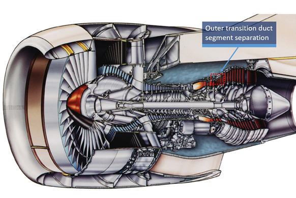 Figure 1: Cutaway view of the PW4170 showing outer transition duct location. Source: Pratt & Whitney, modified by the ATSB