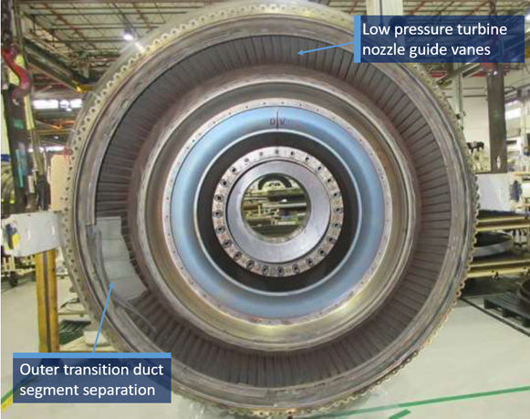 Figure 2: Front view of low pressure turbine section showing the outer transition duct segment separation and movement into the low pressure turbine airflow path. Source: Pratt & Whitney, modified by the ATSB
