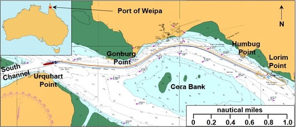 Figure 1: Port of Weipa. Source: Australian Hydrographic Service annotated by the ATSB