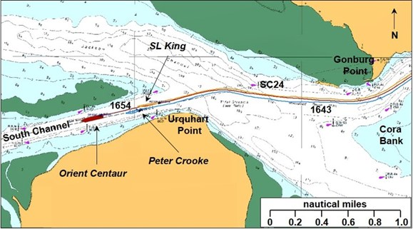 Figure 2: Orient Centaur passing Urquhart Point and entering the South Channel. Source: Orient Centaur VDR, annotated by ATSB