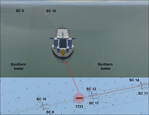 Figure 4: Orient Centaur aground in the South Channel at 1723. Source: Orient Centaur VDR, annotated by ATSB