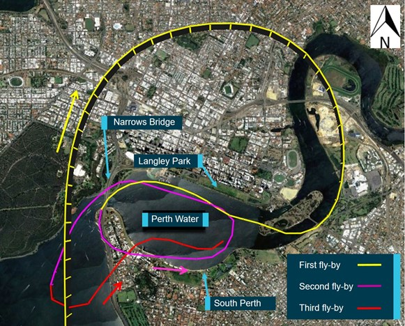 Figure 2: CQA air display flight track, showing the first pass in yellow, the second in magenta and the third in red. Source: Google Earth, modified by the ATSB