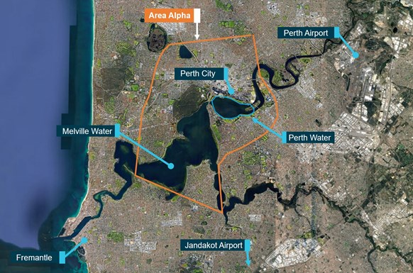 Figure 7: Google Earth image showing approximate location of Perth Water within Area ALPHA. Source: Google Earth, modified by ATSB