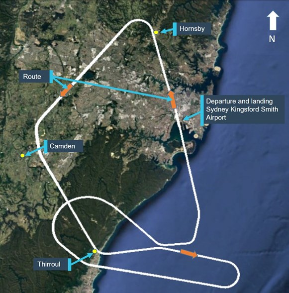 Figure 1: Aircraft route, departure and landing at Sydney Airport. Source; Google earth, modified by the ATSB