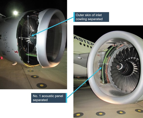Figure 2: Left engine inlet cowling acoustic panels and inboard side outer inlet panel destroyed. Source: ATSB