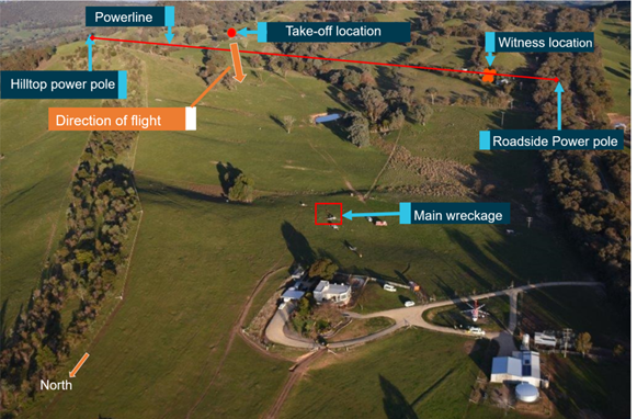 Figure 2: Overview of the accident location. Source: Victoria Police, annotated by ATSB