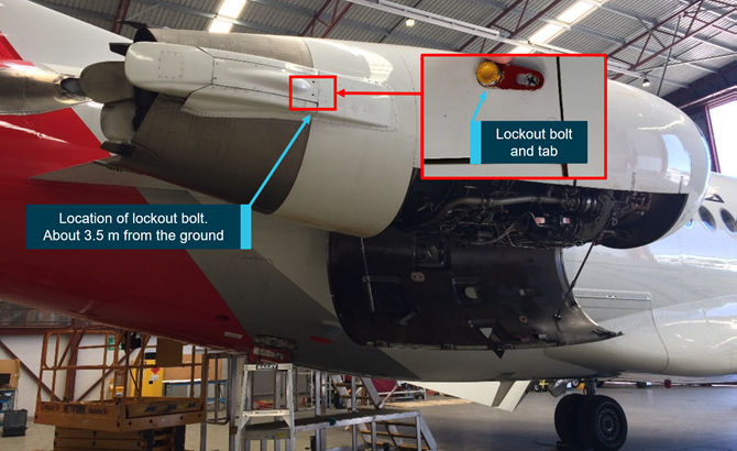 Fokker F100 airliner inadvertently returned to service with a lock-out bolt installed