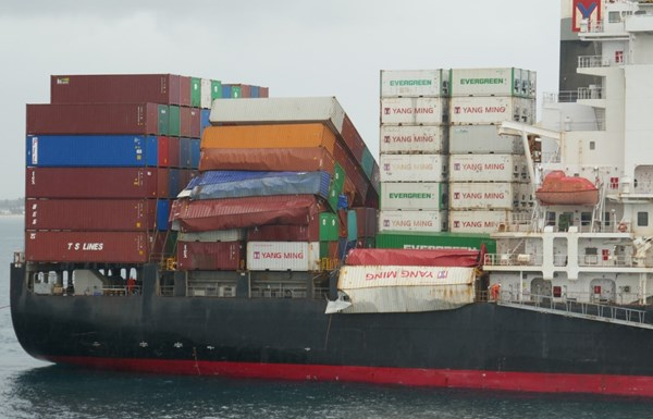 Figure 3: Damaged containers in bays 52 and 56. Source: ATSB