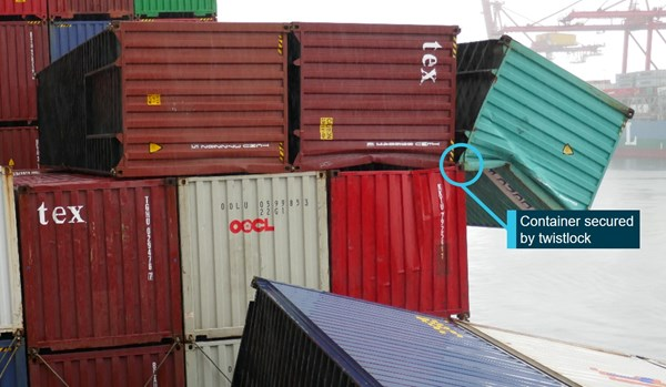 Figure 11: Dislodged containers six days after the accident. Source: ATSB