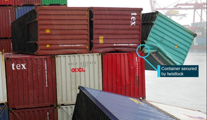 Loss of containers overboard from YM Efficiency