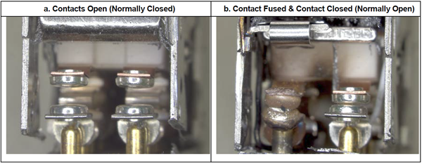 Figure 9: Opposite end views of relay mechanism showing the two sets of anomalous contact conditions.