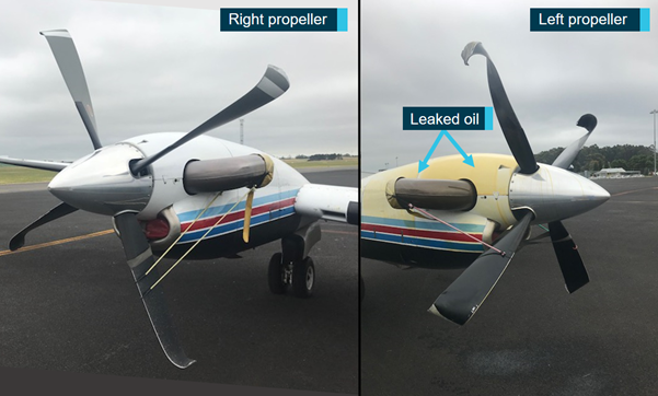 Figure 7: Propeller and engine damage.