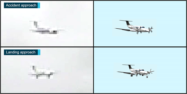 Figure 8: Mount Gambier Airport CCTV captures of ODI and representative images of a B200.