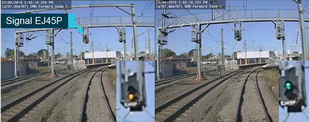 Figure 2: Train DP41 approaching Eagle Junction station with signal EJ45P.