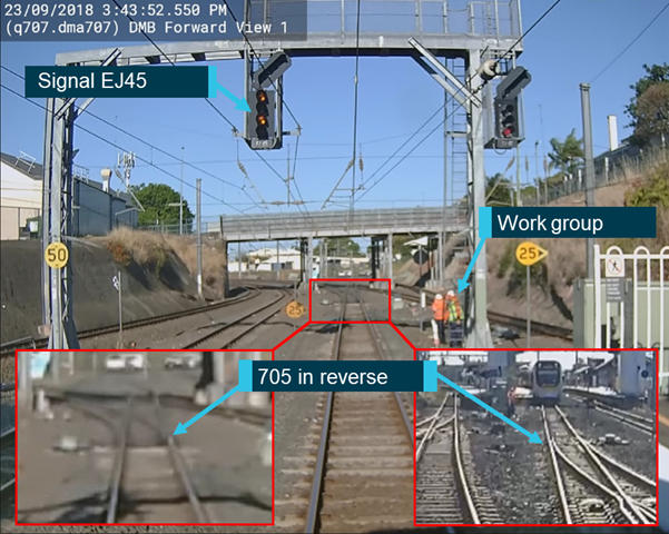 Figure 3: Train DP41 at the platform with signal EJ45 and the 705 points incorrectly set.