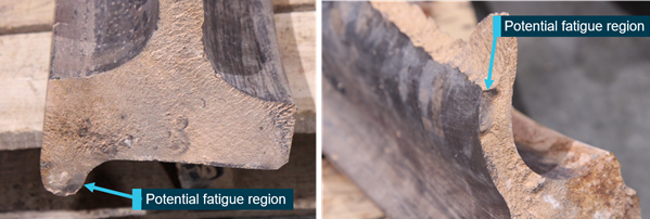 Figure 2: Two fatigue regions in the flange (left) and the plate (right).