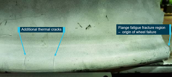 Figure 4: Thermal cracks adjacent to the flange fatigue fracture region.