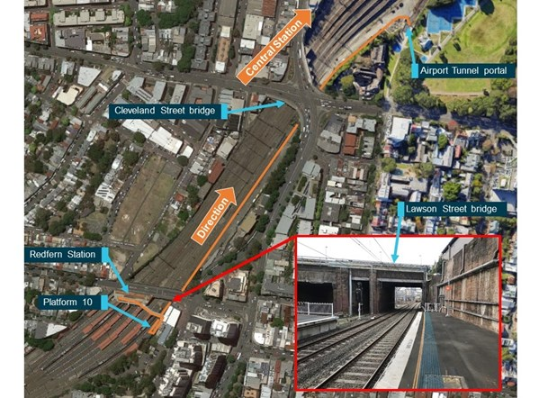 Figure 5: Path taken by the RSW from Redfern to entering the Airport Tunnel.