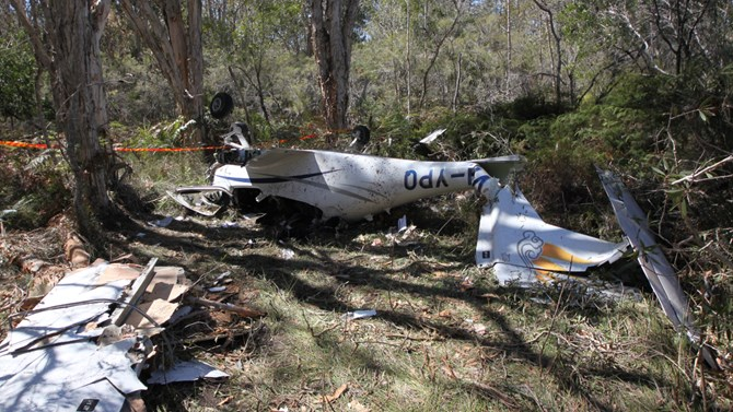 Wreckage of VH-YPQ, which was partially disturbed during rescue of the occupants