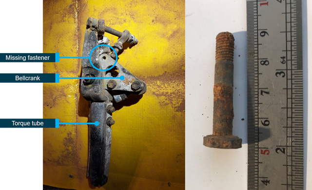 Figure 8: Bellcrank with missing fastener (left) and bolt (right).