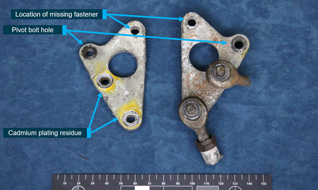 Figure 10: Bellcrank internal surfaces with yellow colouration.