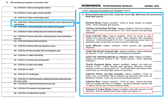 Figure 14: Comparison of the CAM 100-hour inspection checklist (left) and the R22 maintenance manual (right).