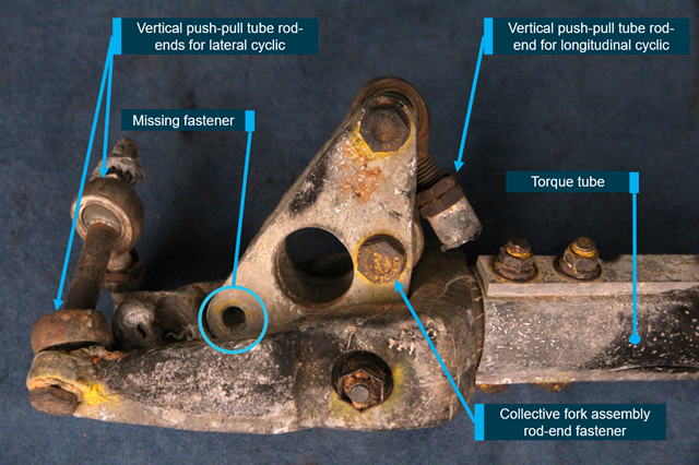 Figure A3: Side view of the bellcrank as received, location of missing fastener circled.